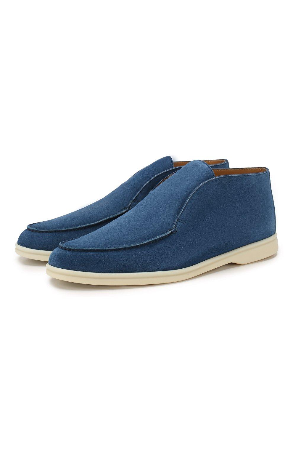 Мужские замшевые ботинки open walk LORO PIANA темно-синего цвета, арт. FAB4368   Фото 1 (Мужское Кросс-КТ: Ботинки-обувь; Материал внутренний: Натуральная кожа; Подошва: Плоская; Материал внешний: Замша)
