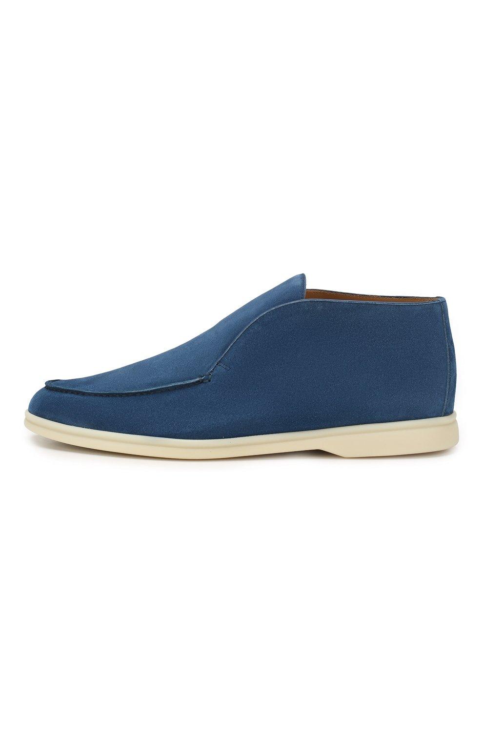 Мужские замшевые ботинки open walk LORO PIANA темно-синего цвета, арт. FAB4368   Фото 3 (Мужское Кросс-КТ: Ботинки-обувь; Материал внутренний: Натуральная кожа; Подошва: Плоская; Материал внешний: Замша)