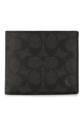 Мужской комплект из портмоне и футляра для кредитных карт COACH темно-серого цвета, арт. 74935 | Фото 1