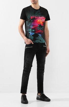 Мужские кожаные кеды BALMAIN черного цвета, арт. TM0C209/LSIM | Фото 2