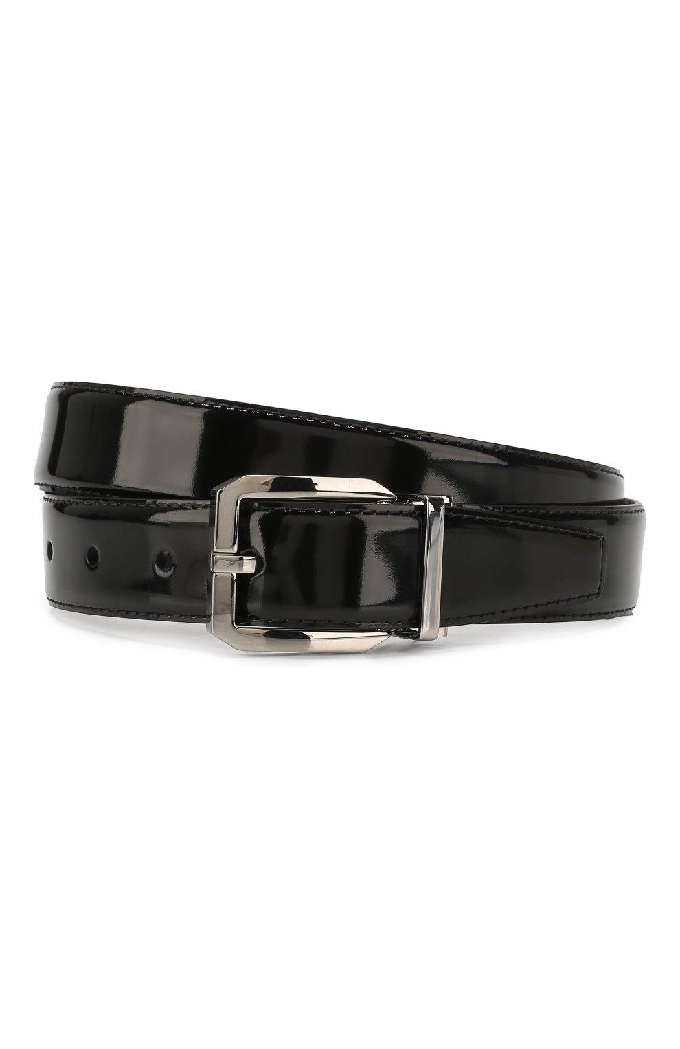 Мужской кожаный ремень DOLCE & GABBANA черного цвета, арт. BC4262/A1037   Фото 1