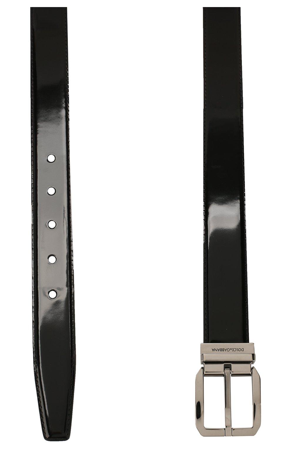 Мужской кожаный ремень DOLCE & GABBANA черного цвета, арт. BC4262/A1037   Фото 2