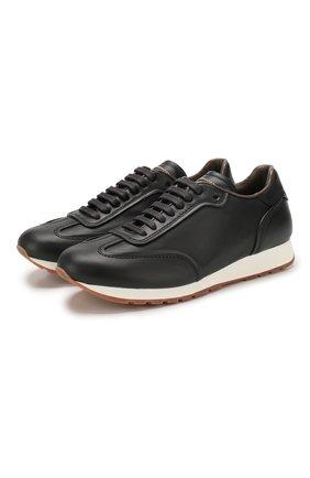 Мужские кожаные кроссовки BRIONI темно-синего цвета, арт. QHH80L/P9726 | Фото 1
