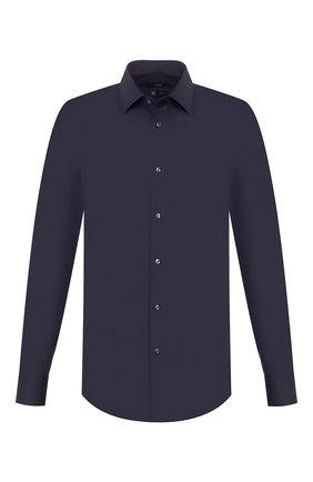 Мужская хлопковая сорочка BOSS темно-синего цвета, арт. 50421976 | Фото 1