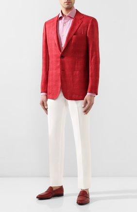 Мужская хлопковая сорочка KITON красного цвета, арт. UCIH0660822 | Фото 2