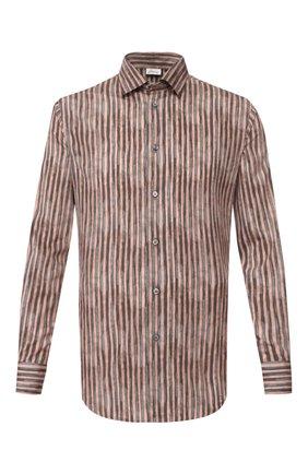 Мужская рубашка из смеси хлопка и шелка BRIONI коричневого цвета, арт. SCCC0L/P9051 | Фото 1
