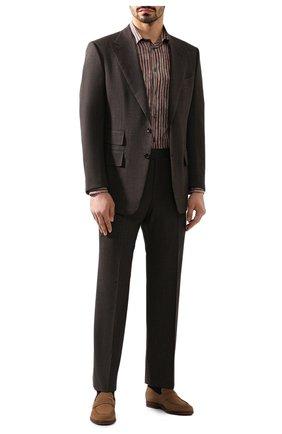 Мужская рубашка из смеси хлопка и шелка BRIONI коричневого цвета, арт. SCCC0L/P9051 | Фото 2