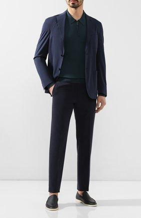 Мужские брюки из смеси хлопка и кашемира ERMENEGILDO ZEGNA темно-синего цвета, арт. 766F12/77TB12 | Фото 2