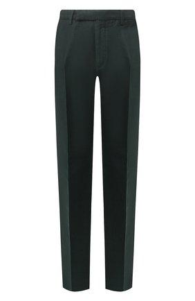 Мужские брюки из смеси хлопка и льна ERMENEGILDO ZEGNA зеленого цвета, арт. UUI13/TP30   Фото 1