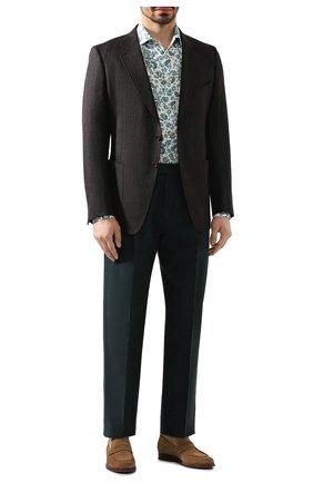 Мужские брюки из смеси хлопка и льна ERMENEGILDO ZEGNA зеленого цвета, арт. UUI13/TP30   Фото 2