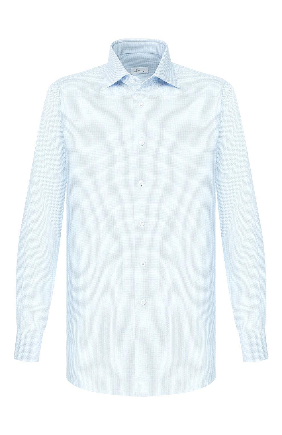Мужская хлопковая сорочка BRIONI бирюзового цвета, арт. RCL810/P907L   Фото 1
