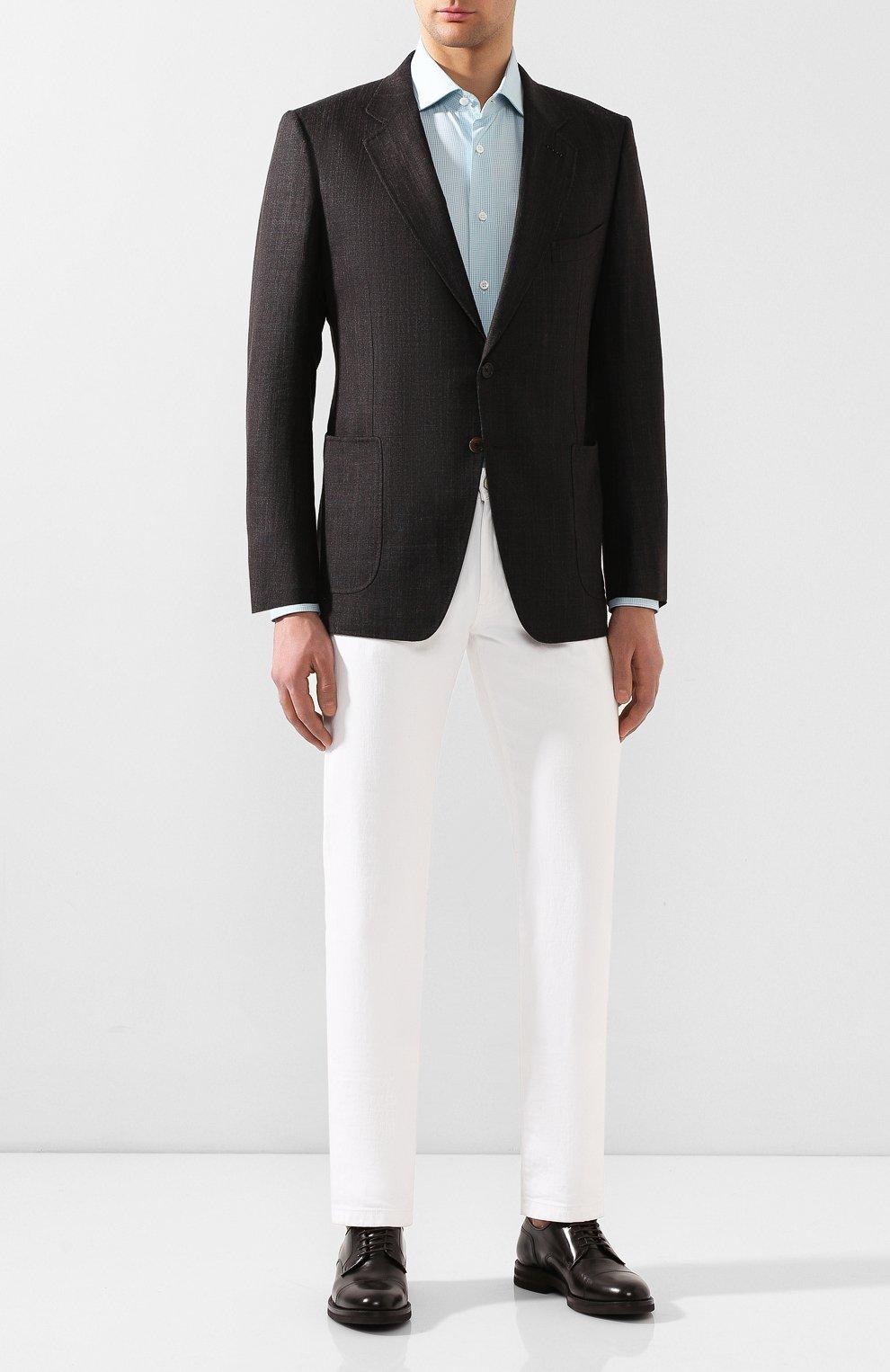 Мужская хлопковая сорочка BRIONI бирюзового цвета, арт. RCL810/P907L   Фото 2