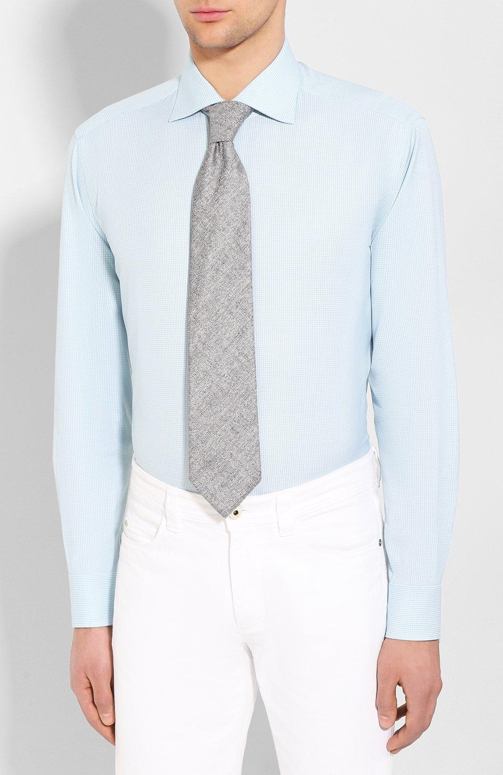 Мужская хлопковая сорочка BRIONI бирюзового цвета, арт. RCL810/P907L   Фото 4