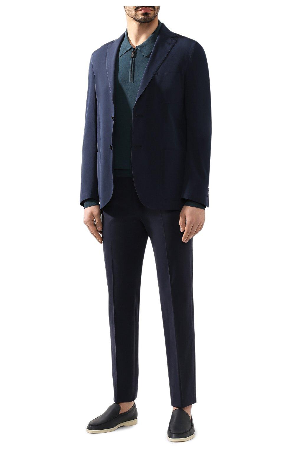 Мужское шерстяное поло BRIONI бирюзового цвета, арт. UMS10L/0ZK18   Фото 2