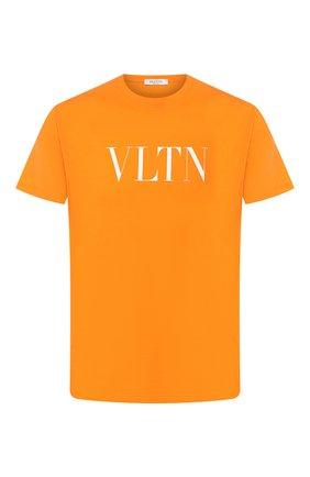 Мужская хлопковая футболка VALENTINO оранжевого цвета, арт. TV0MG10V3LE | Фото 1