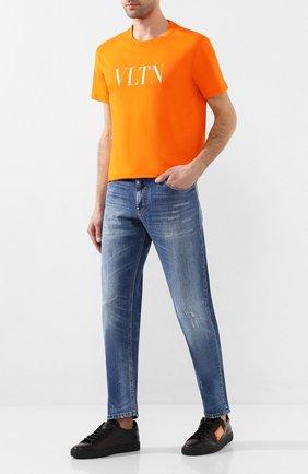 Мужская хлопковая футболка VALENTINO оранжевого цвета, арт. TV0MG10V3LE | Фото 2