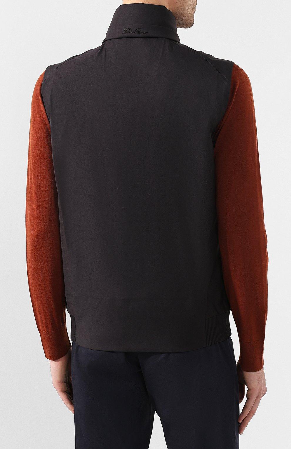 Мужской утепленный жилет LORO PIANA темно-серого цвета, арт. FAL0269   Фото 4 (Кросс-КТ: Куртка; Материал внешний: Шерсть, Синтетический материал; Материал подклада: Синтетический материал; Мужское Кросс-КТ: Верхняя одежда; Длина (верхняя одежда): Короткие; Стили: Кэжуэл)