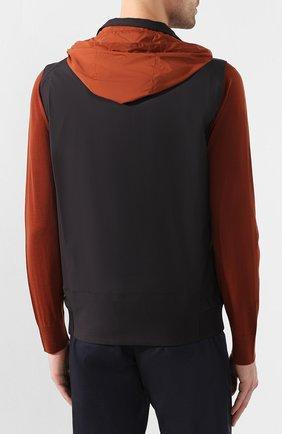 Мужской утепленный жилет LORO PIANA темно-серого цвета, арт. FAL0269   Фото 6 (Кросс-КТ: Куртка; Материал внешний: Шерсть, Синтетический материал; Материал подклада: Синтетический материал; Мужское Кросс-КТ: Верхняя одежда; Длина (верхняя одежда): Короткие; Стили: Кэжуэл)