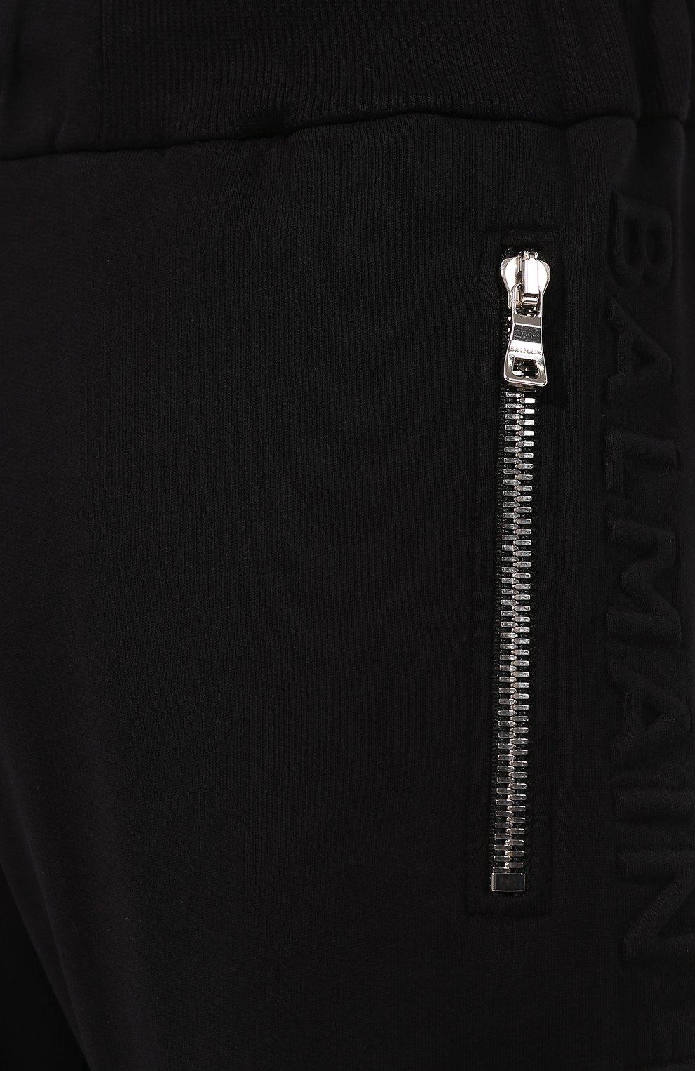 Мужские хлопковые джоггеры BALMAIN черного цвета, арт. TH15632/I240 | Фото 5