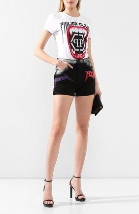 Женские джинсовые шорты PHILIPP PLEIN черного цвета, арт. S20C WDT1328 PDE004N | Фото 2