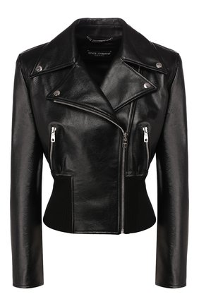 Женская кожаная куртка DOLCE & GABBANA черного цвета, арт. F9H65L/HULF5 | Фото 1