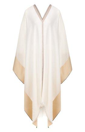 Женская пончо из смеси шелка и кашемира LORO PIANA белого цвета, арт. FAI6578 | Фото 1