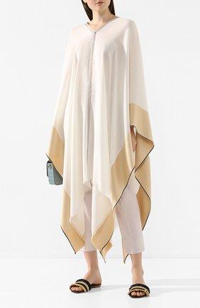 Женская пончо из смеси шелка и кашемира LORO PIANA белого цвета, арт. FAI6578 | Фото 2