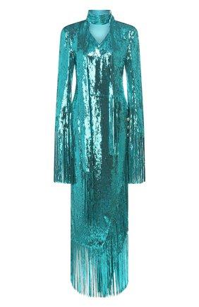 Женское платье с пайетками BALMAIN бирюзового цвета, арт. TF16855/X347 | Фото 1