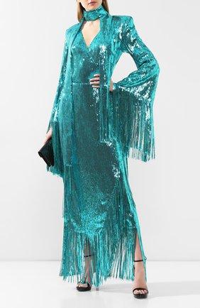 Женское платье с пайетками BALMAIN бирюзового цвета, арт. TF16855/X347 | Фото 2