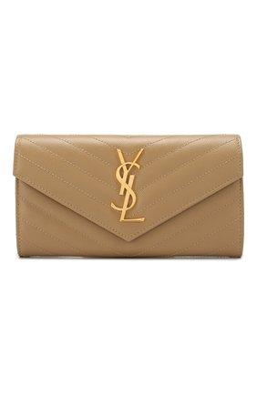 Женские кожаный кошелек monogram SAINT LAURENT бежевого цвета, арт. 372264/B0W01 | Фото 1