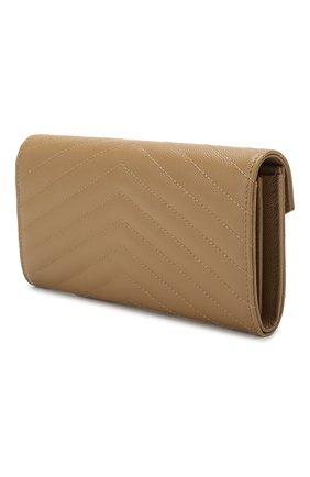 Женские кожаный кошелек monogram SAINT LAURENT бежевого цвета, арт. 372264/B0W01 | Фото 2