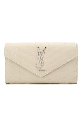 Женские кожаный кошелек SAINT LAURENT белого цвета, арт. 372264/B0W02 | Фото 1