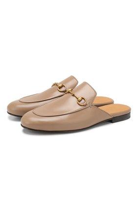 Женские кожаные сабо princetown GUCCI бежевого цвета, арт. 423513/C9D00 | Фото 1 (Каблук высота: Без каблука, Низкий; Материал внутренний: Натуральная кожа; Подошва: Плоская; Каблук тип: Устойчивый)