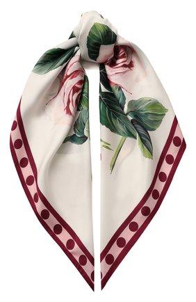 Женский шелковый платок DOLCE & GABBANA белого цвета, арт. FN090R/GDS16 | Фото 1