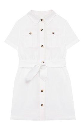 Детское льняное платье LORO PIANA белого цвета, арт. FAI9381 | Фото 1