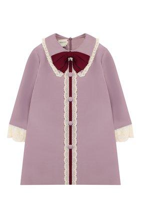 Детское платье из хлопка и шелка GUCCI фиолетового цвета, арт. 572539/ZB350 | Фото 1