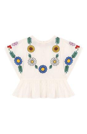 Детский хлопковая блузка STELLA MCCARTNEY белого цвета, арт. 596566/S0K62 | Фото 1