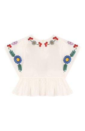 Детский хлопковая блузка STELLA MCCARTNEY белого цвета, арт. 596566/S0K62 | Фото 2