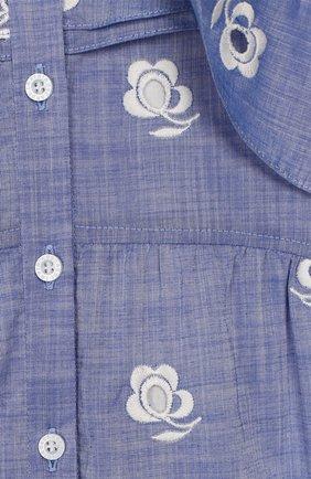 Детское хлопковое платье OSCAR DE LA RENTA синего цвета, арт. 20SGN618CEX   Фото 3 (Рукава: Короткие; Случай: Повседневный; Материал внешний: Хлопок; Материал подклада: Шелк; Ростовка одежда: 10 - 11 лет   140 - 146см, 4 года   104 см, 6 лет   116 см, 8 лет   128 см)