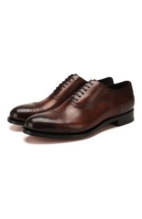 Мужские кожаные оксфорды SANTONI темно-коричневого цвета, арт. MC0S10348MC2H0ENR38 | Фото 1