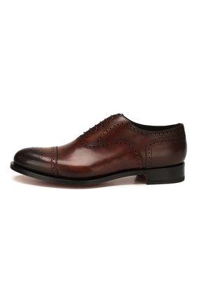 Мужские кожаные оксфорды SANTONI темно-коричневого цвета, арт. MC0S10348MC2H0ENR38 | Фото 3