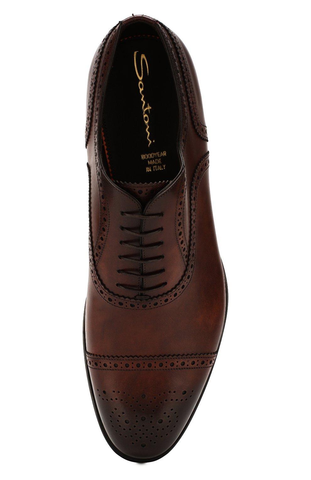 Мужские кожаные оксфорды SANTONI темно-коричневого цвета, арт. MC0S10348MC2H0ENR38 | Фото 5