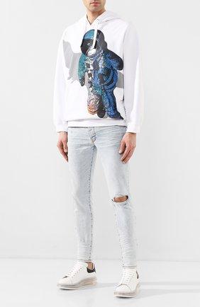 Мужские кожаные кеды ALEXANDER MCQUEEN белого цвета, арт. 604232/WHX98 | Фото 2