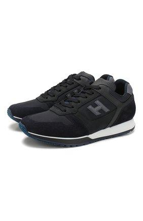 Мужские комбинированные кроссовки HOGAN темно-синего цвета, арт. HXM3210Y851N8L | Фото 1