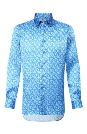 Мужская шелковая рубашка ZILLI синего цвета, арт. MFT-00902-27001/RZ01 | Фото 1