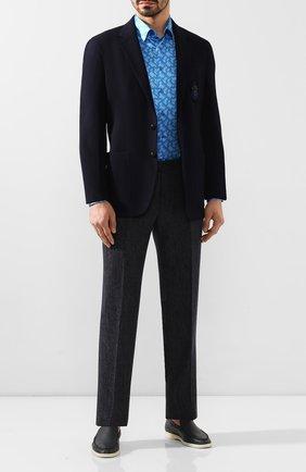 Мужская шелковая рубашка ZILLI синего цвета, арт. MFT-00902-27001/RZ01 | Фото 2