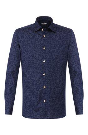 Мужская хлопковая сорочка KITON синего цвета, арт. UMCNERH0728612 | Фото 1