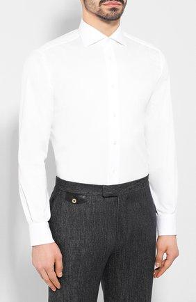 Мужская хлопковая сорочка BRIONI белого цвета, арт. RCL82B/P806N | Фото 3