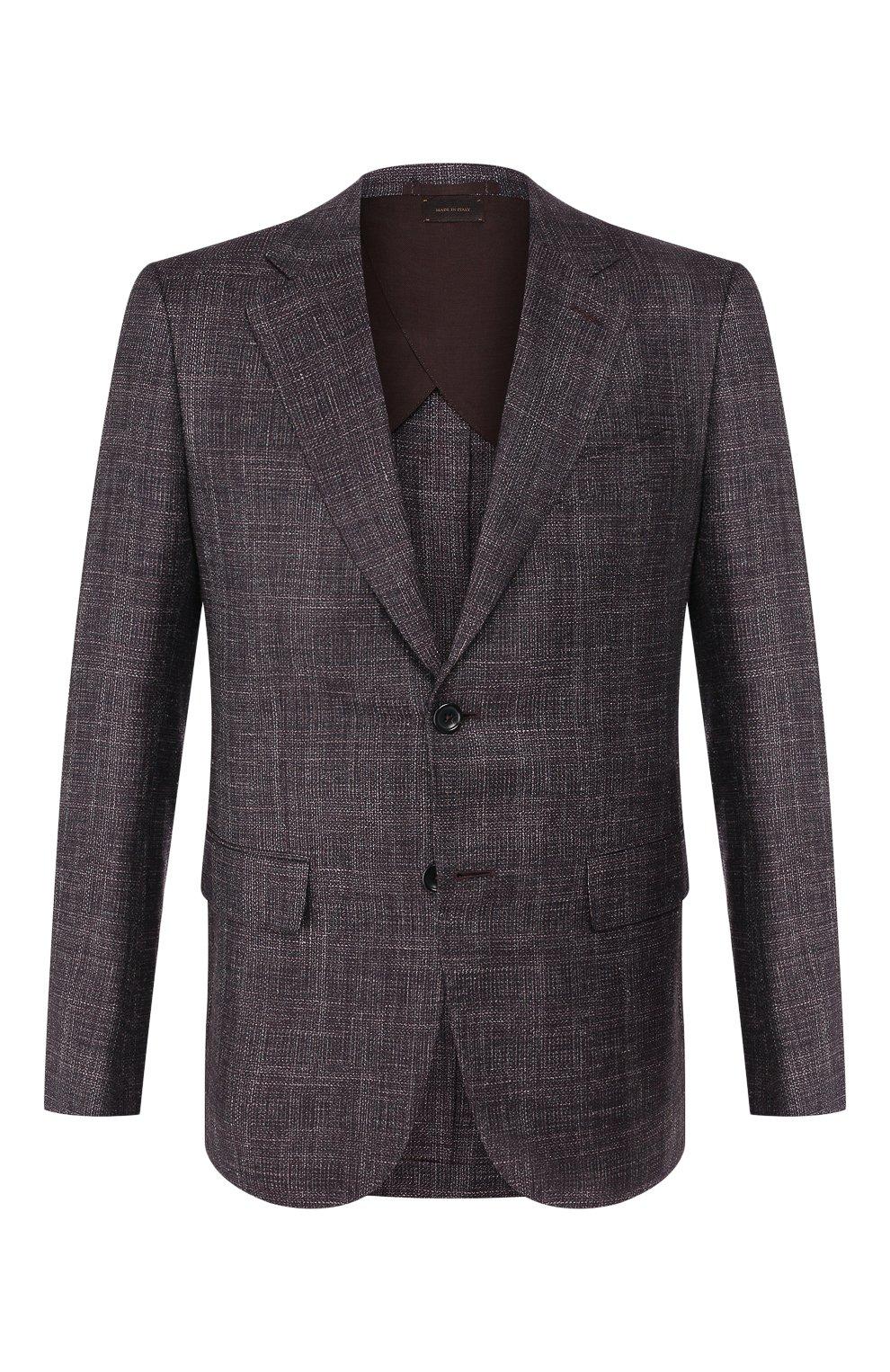 Мужской пиджак из смеси шерсти и шелка ZEGNA COUTURE фиолетового цвета, арт. 750N09/10C2N0   Фото 1