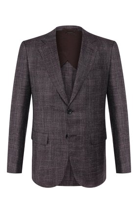 Мужской пиджак из смеси шерсти и шелка ZEGNA COUTURE фиолетового цвета, арт. 750N09/10C2N0 | Фото 1